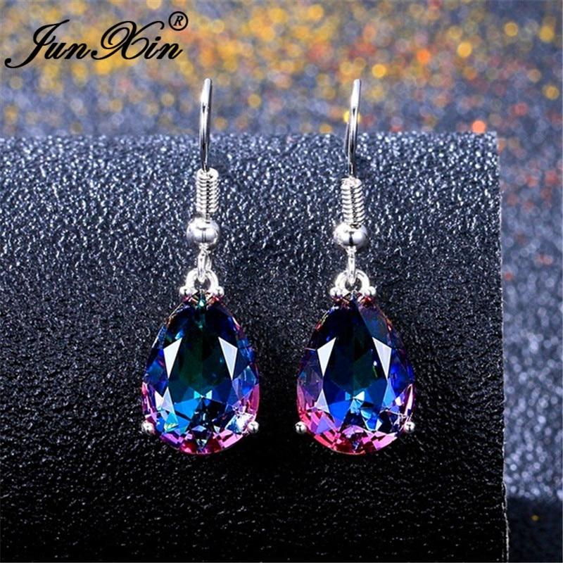 JUNXIN Mystic Fire Stone Pear Drop Earrings For Women Silver Color Rainbow Zircon Austrian Crystal Earrings Female
