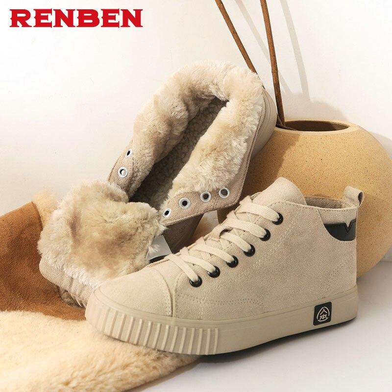 2018 RENBEN Botas de nieve zapatos casuales invierno punta redonda Zip botines de Mujer Botas Mujer
