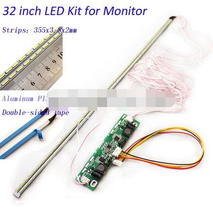 Светодиодная лента с алюминиевой пластиной 32 дюйма, обновленный комплект для ламп с подсветкой для ЖК-монитора, ТВ-панели, 2 светодиодных ленты 355 мм, Новинка
