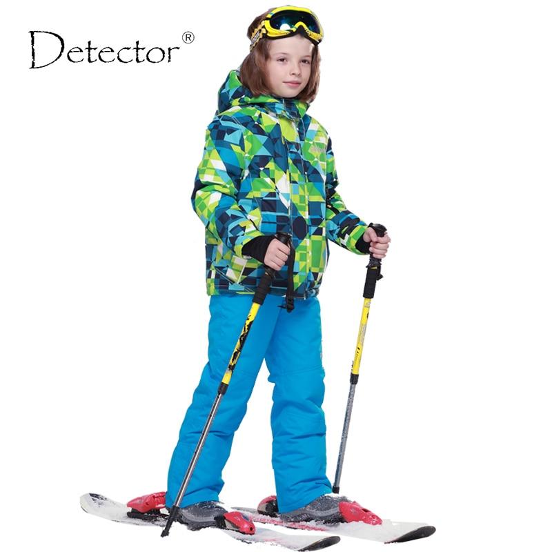 Лыжные комплекты Detector для мальчиков, зимняя водонепроницаемая ветрозащитная детская Лыжная куртка, Детские уличные теплые спортивные кост...