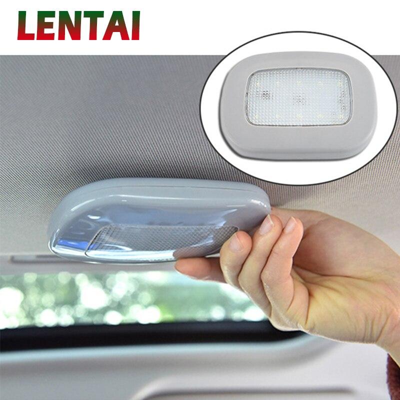 LENTAI luz de lectura LED de coche lámpara de techo DIY con pegatinas para Ford Focus 2 3 VW Passat B6 B5 B7 Toyota Avensis Skoda