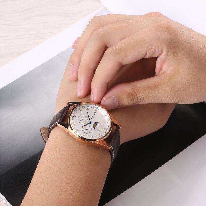 Women's watches Moon Phase Zegarek Damski Luxury Ladies Watch Reloj Mujer Rose Gold Clock Leather Waterproof Quartz Wristwatch enlarge
