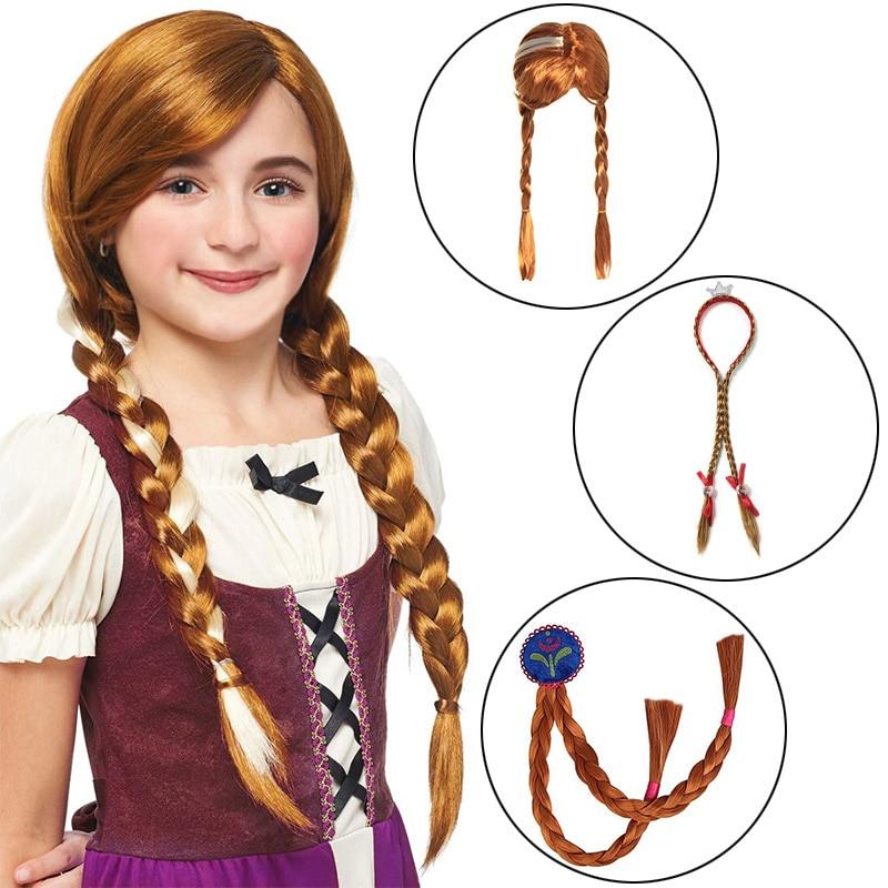 Niños Anna Elsa fiesta peluca Cosplay suministros niña Halloween cumpleaños princesa sombrero regalo Trenza para pelo sintético diadema
