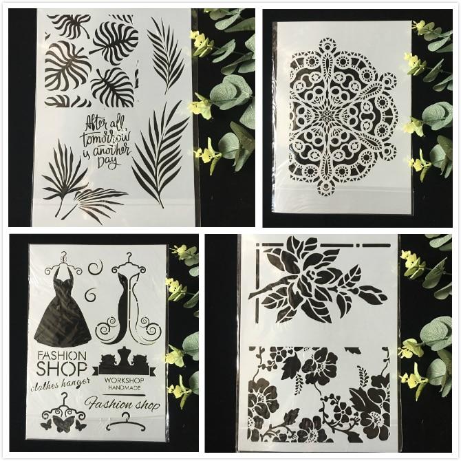 4 unids/pack A4 flor vestido DIY capas plantillas de pared pintura libro de recortes colorear relieve álbum de plantilla