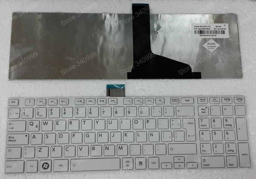 free shipping keyboard For Toshiba Satellite L970 L970D L975 L975D L950 L950D L955 L955D white with frame Spain Latin Teclado