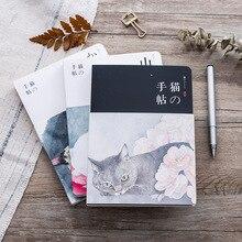 Милый блокнот с кошкой, бумажный эскиз, книга для офиса, школьные принадлежности, подарок, новый пустой винтажный блокнот, дневник для рисования, 80 листов