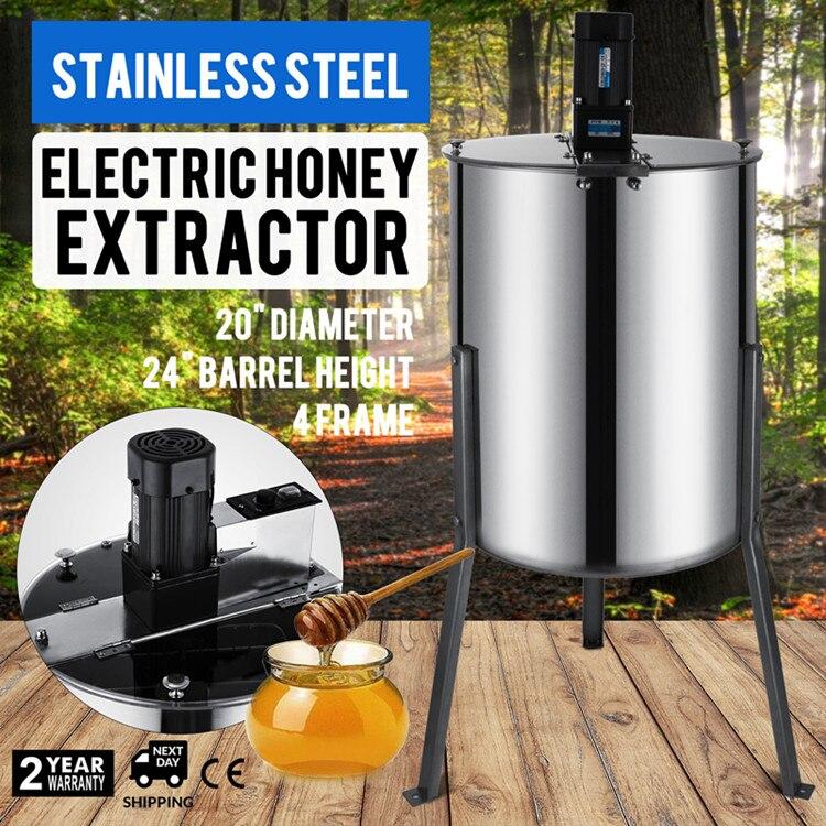 Extractor de miel eléctrico, grande, cuatro marcos, de acero inoxidable