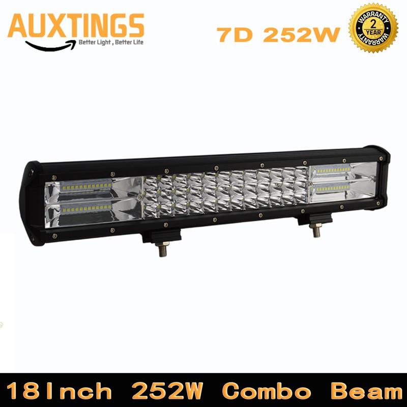 Barra de luz LED de 18 pulgadas, 252w, 3 filas, barra de luz Led de Offroad Combo, barra de luz Led de obra de 12v 24v, camión SUV, ATV, 4x4, 7D