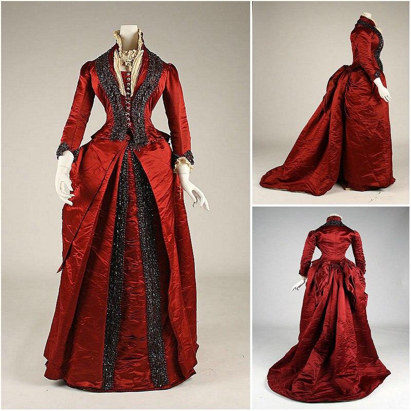 2017 جديد! 19 القرن الفيكتوري Dress1860S سكارليت الحرب الأهلية جنوب حسناء اللباس هالوين فساتين US4-36 C-903