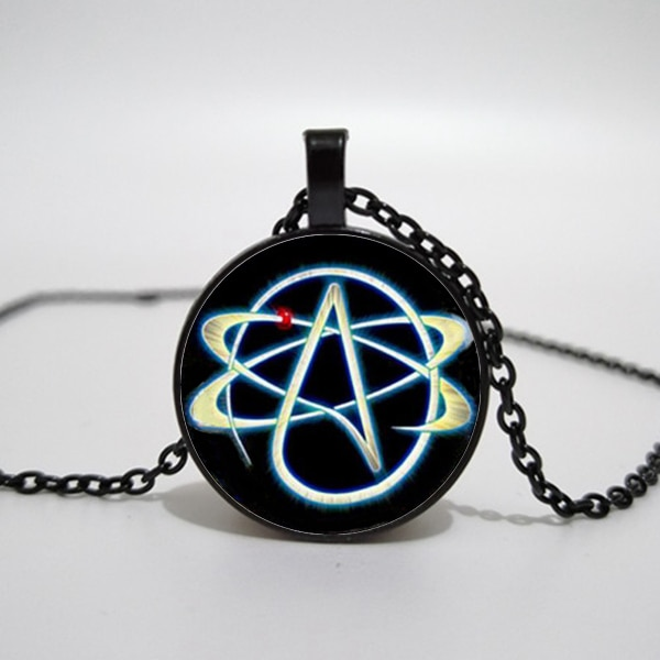 Collar de símbolo ateo opcional de 3 colores, colgante de átomo, joyería ateo, sin collar religioso, collar para hombre