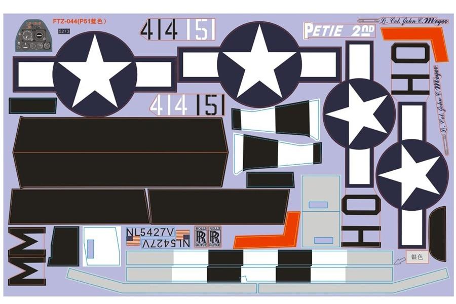 FMS 1400 мм 1,4 м P-51D P51 Mustang Petie 2nd Наклейка Лист наклейки радиоуправляемый самолет вертолет модель Запчасти для самолетов аксессуары