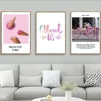 Creme glacee rose velo douce famille moderne nordique toile peintures Vintage mur Kraft affiches enduit Stickers muraux decor a la maison cadeau