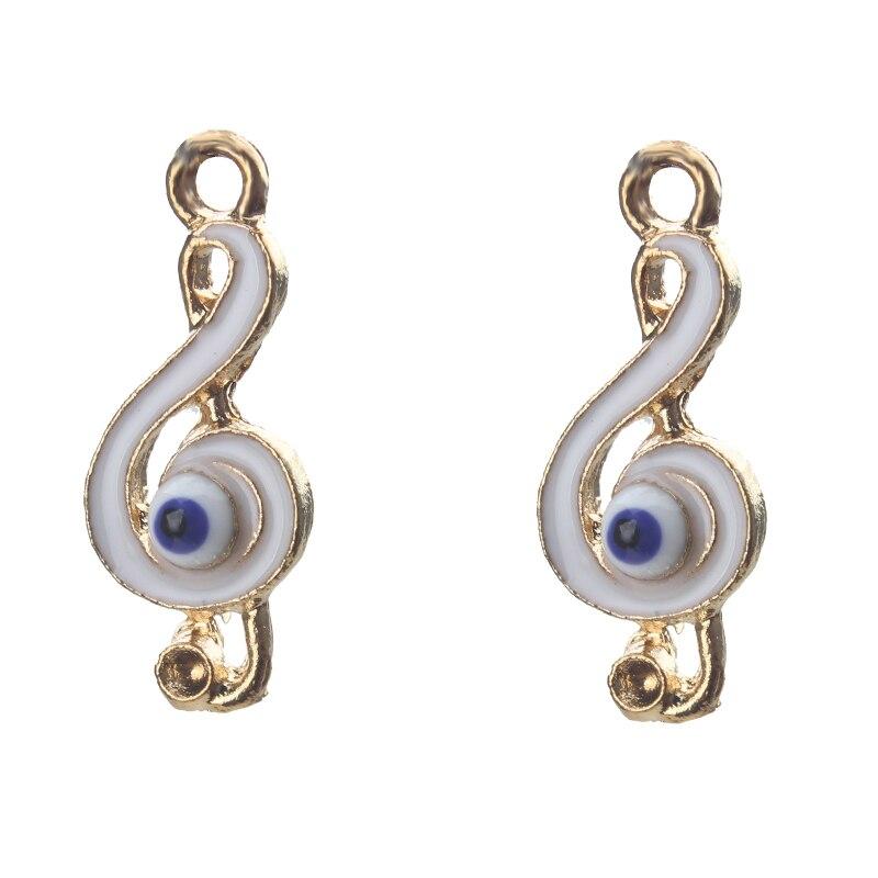 5 pçs/lote Ouro/Cor Prata Liga Evil Eye Encantos Musicais Símbolo de Música Pingente Em Forma de Colar Pulseira Acessórios de Jóias Finding
