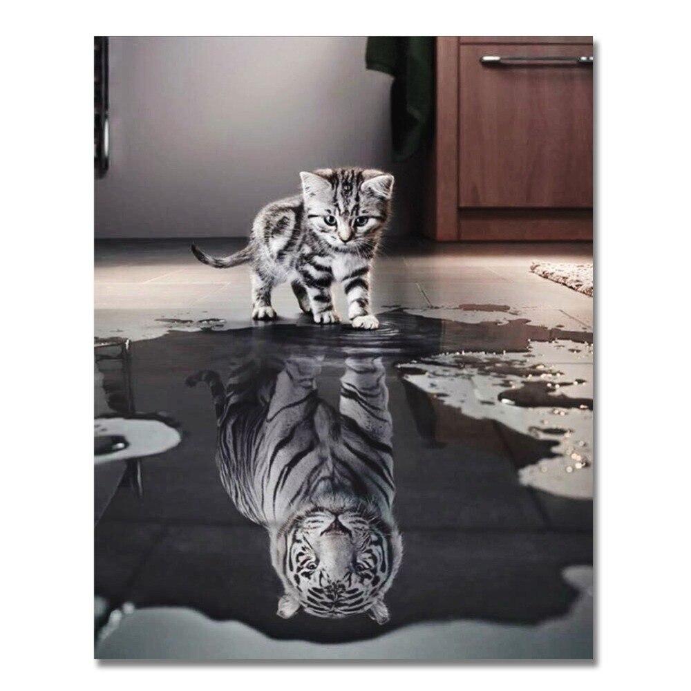 Pintura al óleo por números hazlo-tú-mismo de reflexión del tigre de WEEN Cat, imagen artística de animales para la pared, dibujo a mano, lienzo pintado para colorear