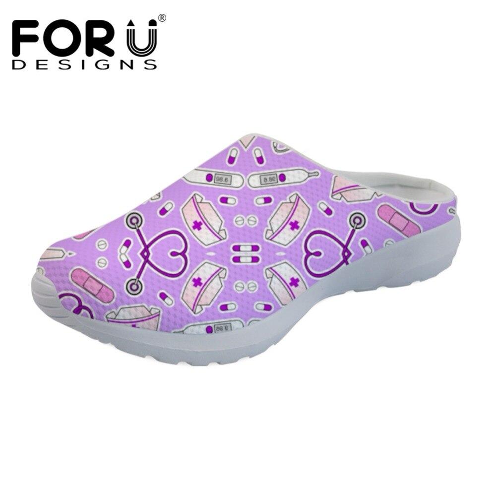 FORUDESIGNS Roxo Enfermeira Enfermagem Confortável Malha Marca de Moda Apartamentos Mulheres Sandálias de Verão sapatos Casuais Sandálias Chinelos Em Casa das Mulheres