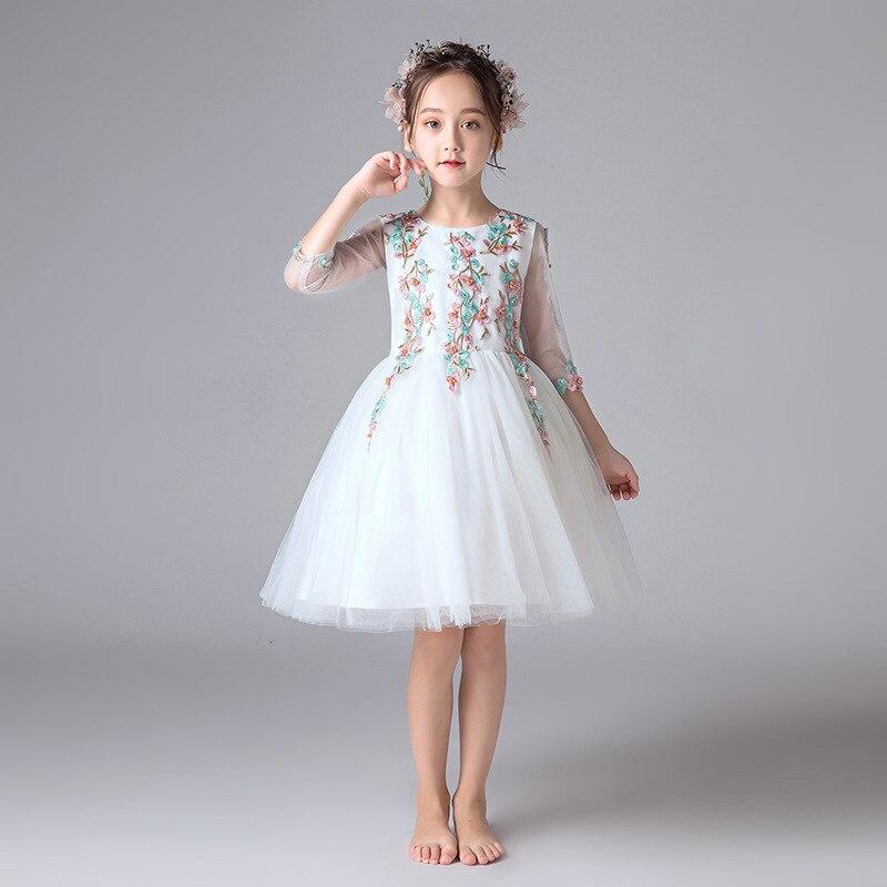 2020 Vestido Formal de niñas Vestido de fiesta princesa flor chica moda para fiesta ropa de Niña 3 4 6 8 10 12 14 años RKF194003