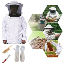 Sellos a prueba de abejas, juego de chaqueta y guantes para apicultura, cepillo para colmena y juego de herramientas para colmena con gancho J (blanco)