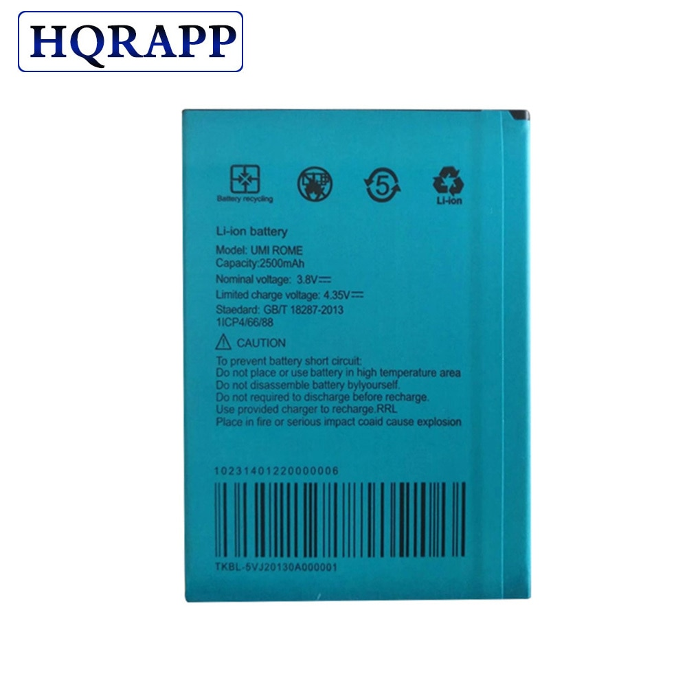 New 2500mAh UMI ROME NEW 100% Battery For UMI ROME X High Quality Cell Phone Replacement Batteries Rechargeable