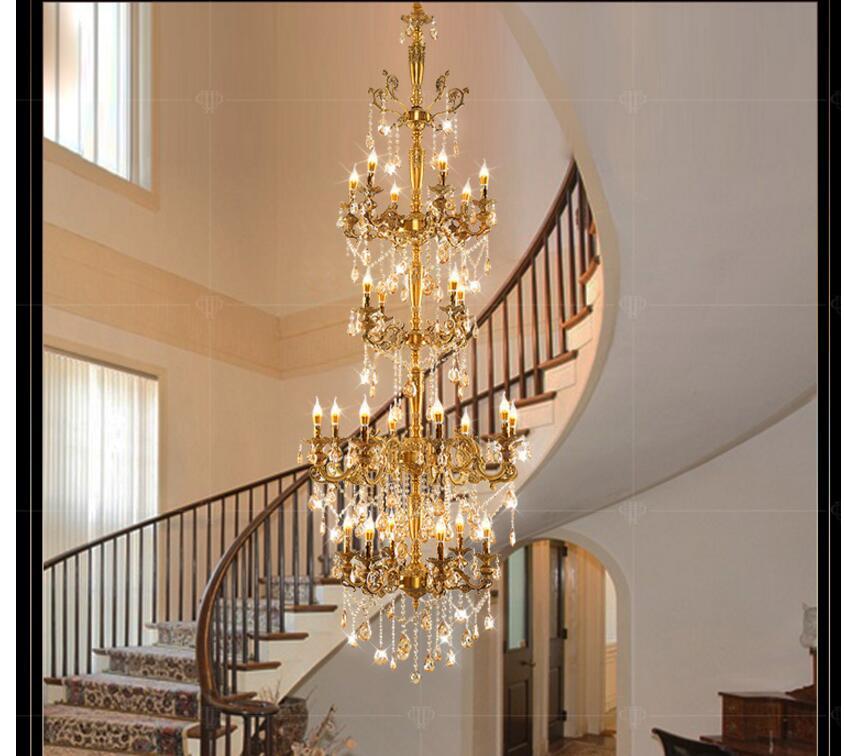 Brass Alloy Luxurious European D80cm H235cm Chandelier Modern Crystal Chandelier / Light / Lighting Fixture AC 100% Guaranteed