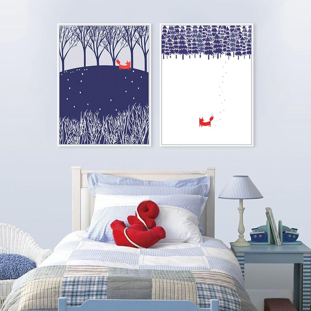 Природа Снежный лес красная лиса фантастический цвет сказка Креативный дизайн искусство синий белый лучший домашний Декор стены Печать ма...