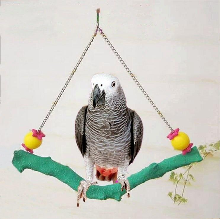 Matte Pet Birds Wooden Toy Parrot Macaw Cockatiel Budgie Foot Scratcher Hanging Swing Playing Toy Bird Cage Supplies D195