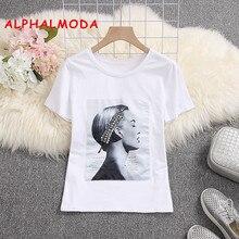 ALPHALMODA 2019 t-shirts à manches courtes à la mode paillettes motif Appliques dames pulls mode été t-shirts hauts blanc noir