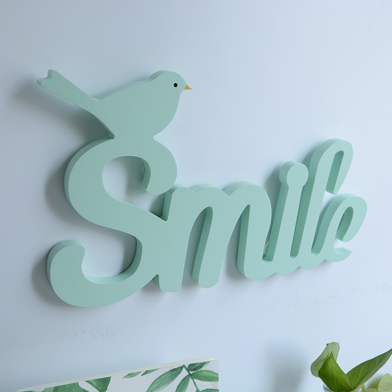 SIBAOLU, decoración de letras con sonrisa de Pájaro verde, accesorios para decoración de boda, ornamentos de letras de madera, decoración del hogar