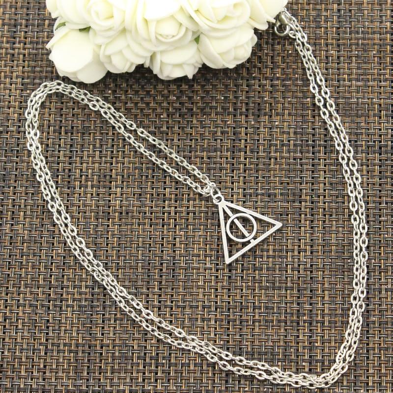 New Fashion Necklace Hallows Deathly 22x21mm Silver Color Pendants Short Long Women Men Colar Gift J