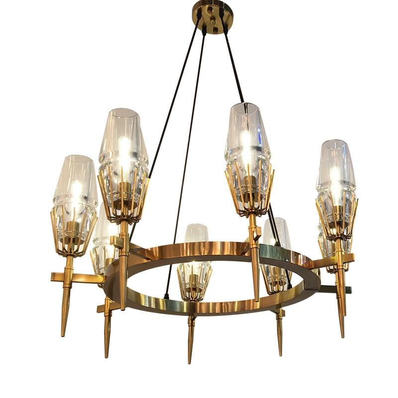 Modern copper retro round glass chandelier metal LED lamp Dia 60/80cm For Parlor restaurant Home Suspension Chandelier PA0100