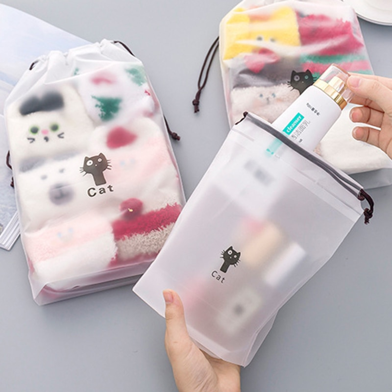 Cat Waterproof Cosmetic Box Women Travel Makeup Case Zipper Makeup Bath Organizer Storage Pouch Toil