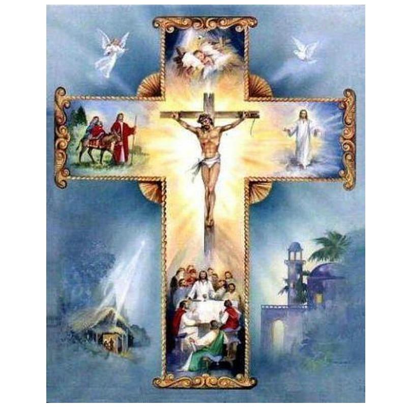 Diamant Stickerei religiöse kreuz Jesus Handgemachte Mosaik Diy Diamant Malerei Kreuz Stich Muster Quadrat Bohrer Wohnkultur CF607