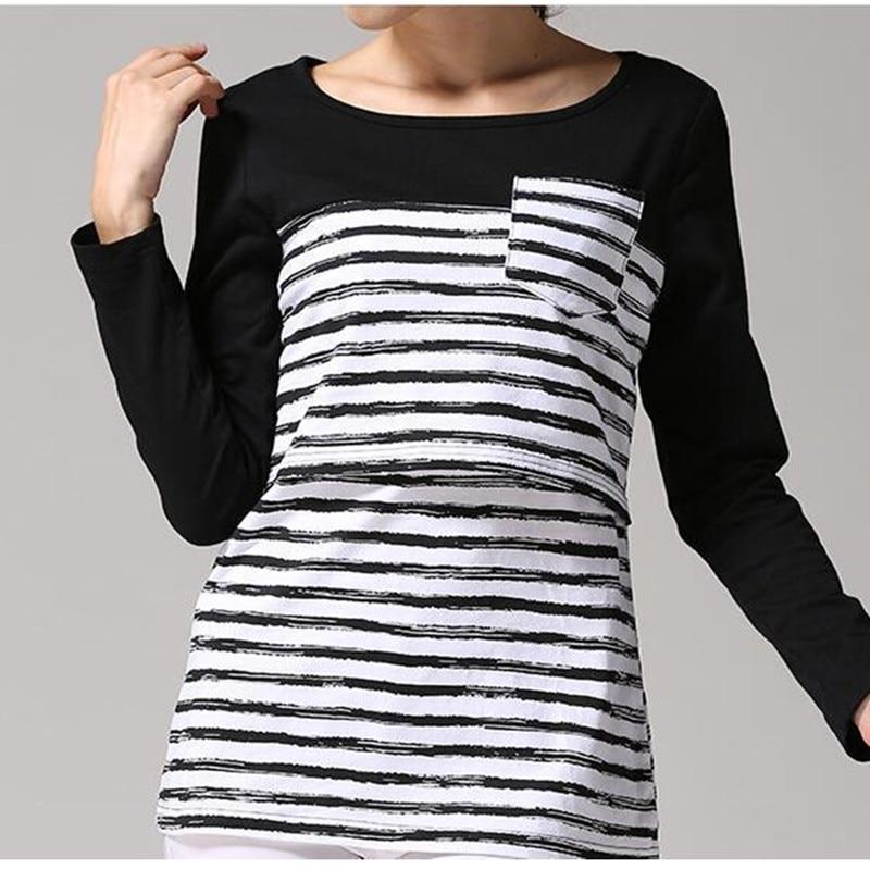 2019 Maternity Nursing Tops Long Sleeve Breastfeeding Clothing For Pregnant Women Casual Striped T-Shirt  B0001 enlarge