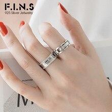 Anillos de plata F.I.N.S 925 para mujer, anillo abierto ancho de cuentas redondas Simple personalizado a la moda con palabras, anillo de cadena ajustable suave