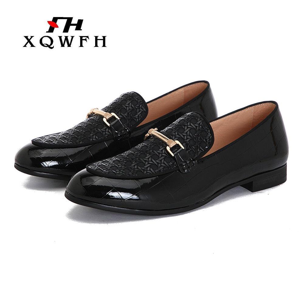 XQWFH-حذاء كاجوال جلدي للرجال ، حذاء موكاسين كلاسيكي عصري ، مريح ، 2019