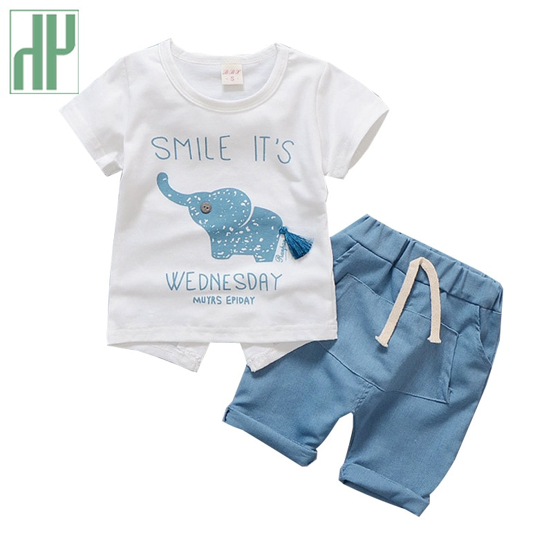 Ropa para niños con estampado de elefante de dibujos animados, ropa de verano para niño niña, top + pantalón, ropa deportiva informal para niños, traje 1 2 3 4 años