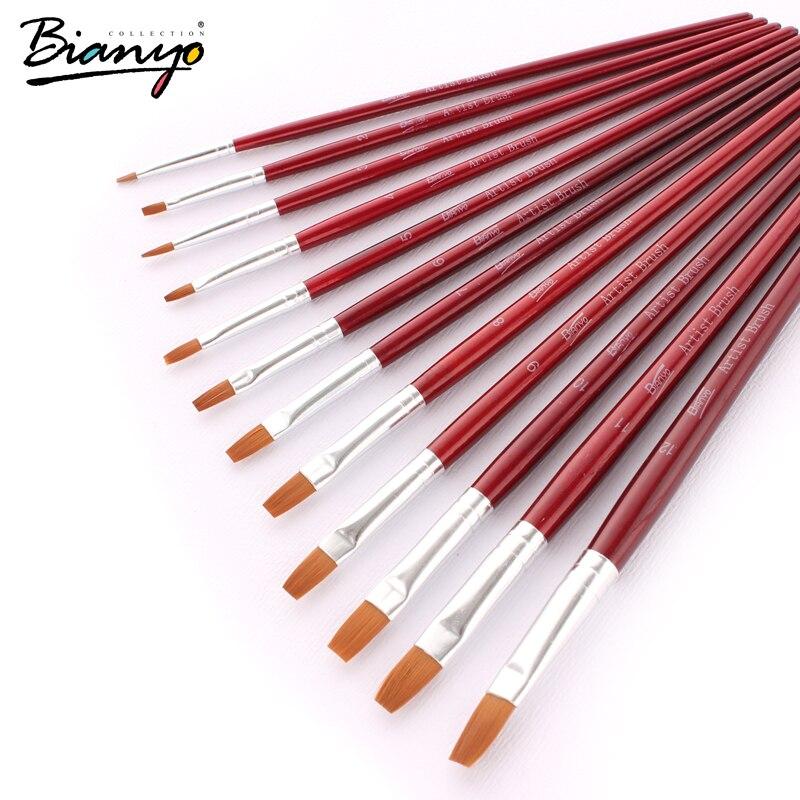 Bianyo 12 Uds cabeza plana acuarela cepillo gouache pintura cepillos de pelo de Nylon rojo de madera de mango moderno conjunto de pinceles de pintura suministros