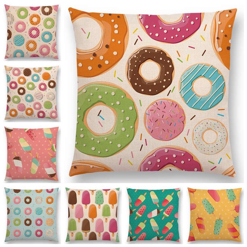 Наволочка с красочными принтами, конфетный шоколадный пончик, красивый узор с мороженым, цветной чехол для дивана, наволочка, Декор