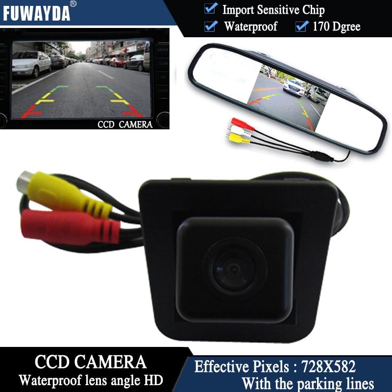 Cámara de Vista trasera de coche con Chip CCD a Color FUWAYDA para mercedes-benz s-class s-klasse GLK300 GLK350 + Monitor de espejo retrovisor de 4,3 pulgadas