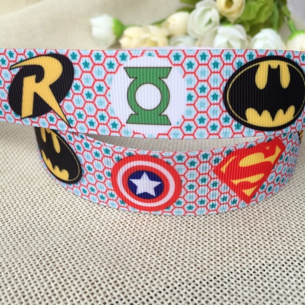 """1 """"25MM envío gratis hero batman superman cinta de grosgrain estampada hairbow sombreros fiesta decoración bricolaje venta al por mayor 5 yardas"""
