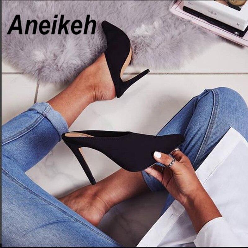 Aneikeh verano 2019 moda Faux Suede verano Slingback mulas puntiagudos tacones medios mujeres bombas tacones altos finos fiesta zapatos Sexy