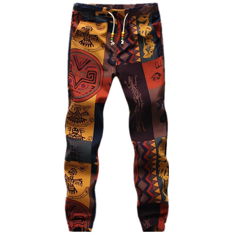 2018 Ethnic style Mens Fashion Linen Sweatpants Long Pants Flower Print slim casual Pattern Pants Man Beam foot Trousers Jogger