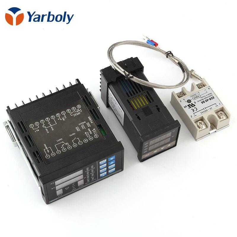 Cyfrowa regulowana temperatura pid panel kontrolny termostat PC410 + REX-C100 + Max.40A przekaźnik SSR + K sonda termoelektryczna