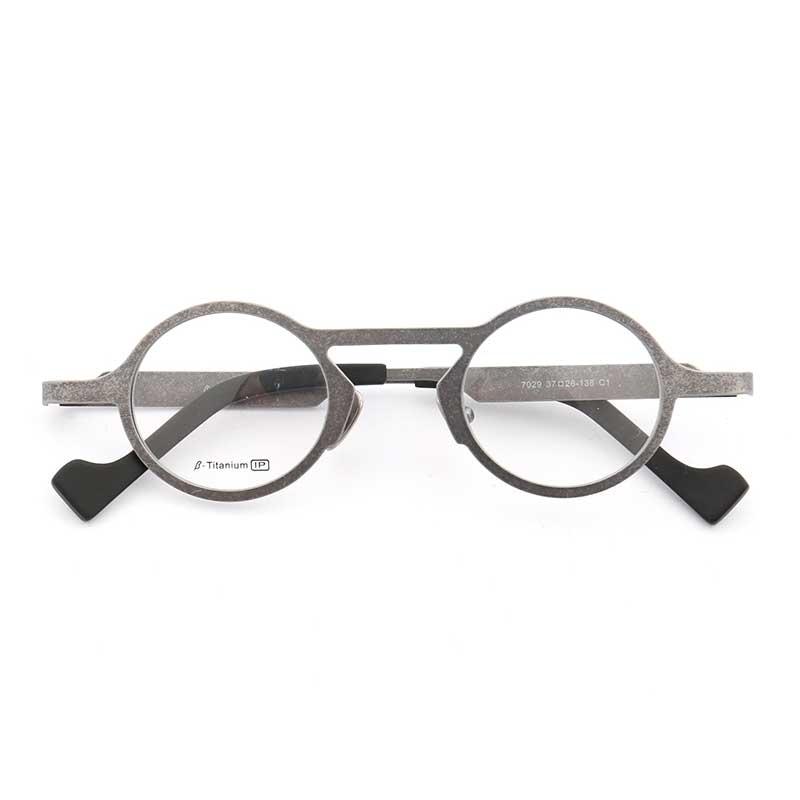 YOUTOP Round Titanium Retro Fashion Hipster Style Raised Bridge Eyewear Frames 7029