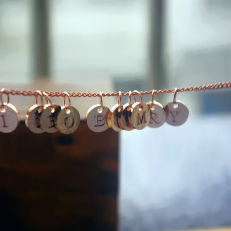26 alfabeto disco letras iniciales nombre collar pareja colgante joyería encantadora para mujeres moda amor regalo