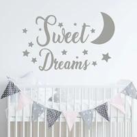 Autocollants muraux en vinyle etoiles et lune  doux reves  decoration pour la maison  papier peint de dessin anime  pour chambre denfants  BO56