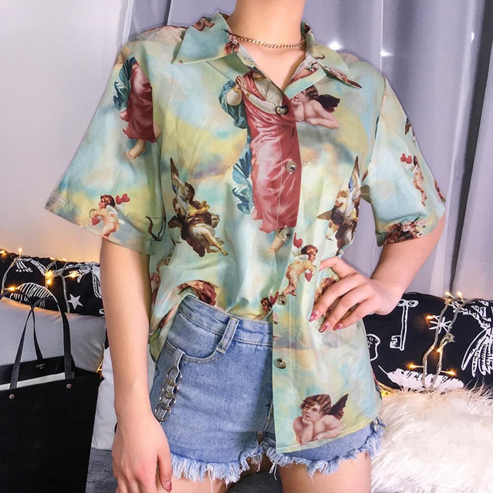 Mujer retro wind angel print suelta slim camisa y mujer botón abajo blusa camisa Vintage Angel Print manga corta verano Top