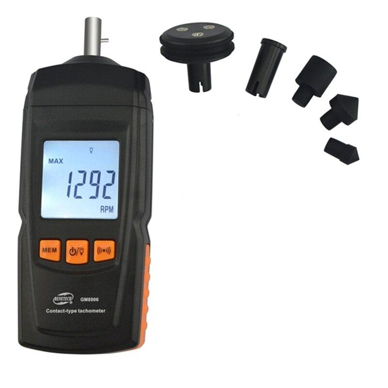 Digitalen Kontakt Tachometer Drehen Geschwindigkeit Lineare Geschwindigkeit Motor Frequenz Meter 0,5 ~ 19999 RPM Wert Daten Halten LCD Tacho Spitze