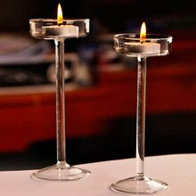 European High Candlestick Glass Candle Holder Romantic Dinner Decoration  HG99