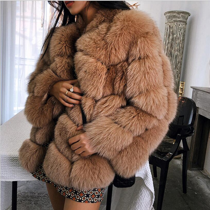 2018 nuevo abrigo de piel de zorro importado de Invierno para mujer, temperamento cálido para mujer, abrigo de talla grande a la moda de piel sintética, abrigo de manga de tres cuartos