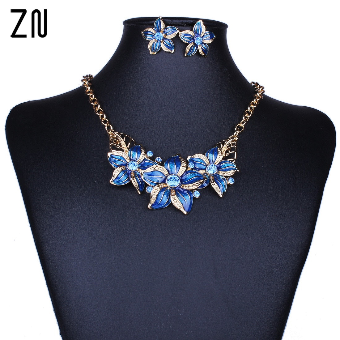 ZN 2020 New Big Flower Design Statement Earings Necklace Sets Women  Jewelry Set